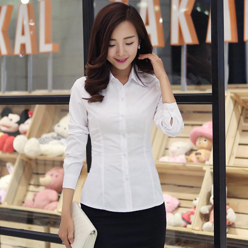 春秋鼕季加絨白色襯衫女長袖韓範學生大碼女裝職業裝打底衫修身OL