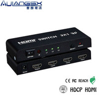 Orange 3 into 1 computer HDMI switcher 3D video amplifier screen sharing device with remote control power supply
