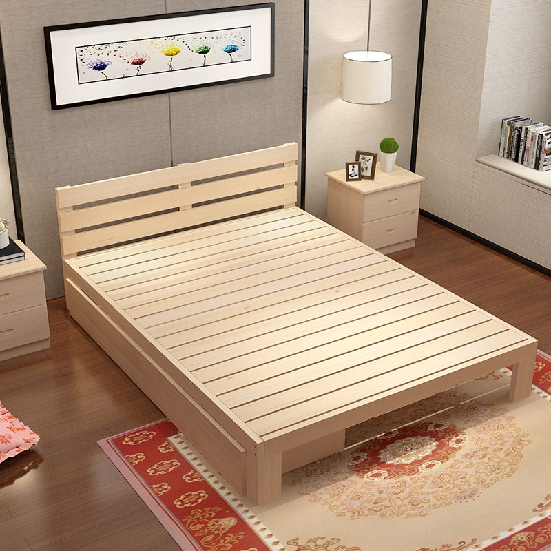 2017 new shipping bed pine wood bed tatami bed single bed double bed adult bed can be customized 1.2