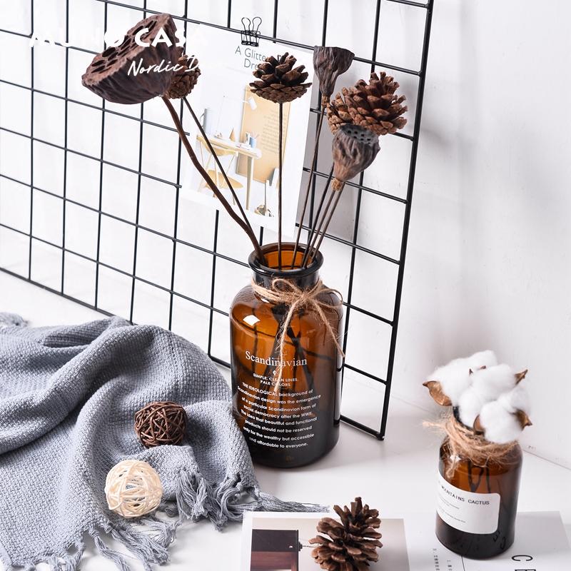棕色小號a北歐風ins玻璃花瓶復古小棕瓶簡約家居桌面水培干花器裝飾品擺件