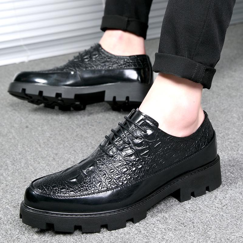 内增高男鞋8cm商务正装皮鞋男系带厚底潮流男士增高10cm鞋结婚鞋
