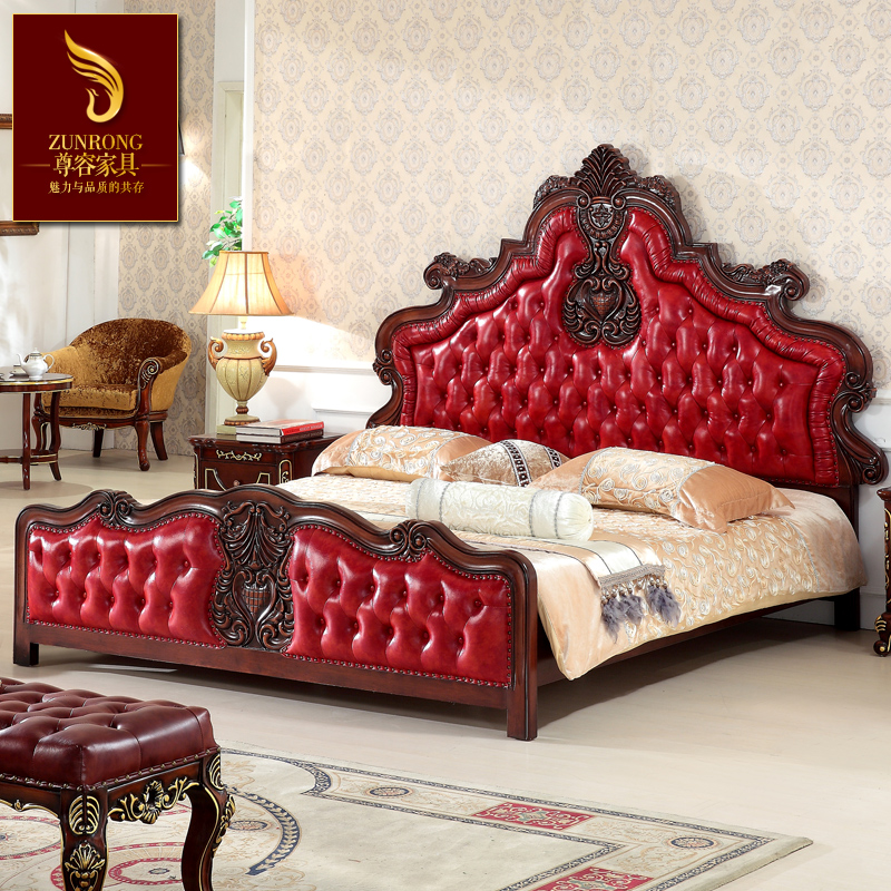 American leather bed European wood double wedding bed 1.8 meters high-grade oak bed face classical furniture domineering
