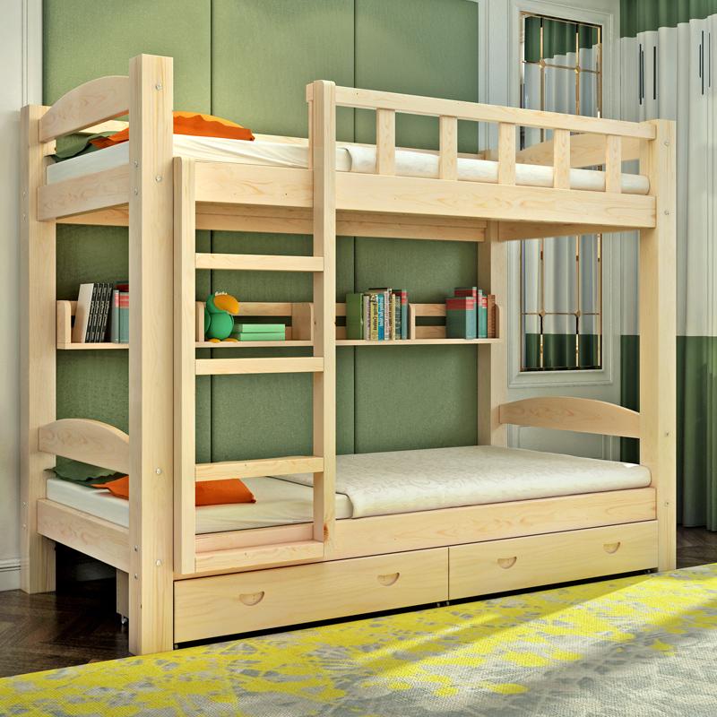 全木造の高低を売る露店母ベッドの児童のベッド2段ベッドに母子ベッドの上で布団を敷く成人2段のベッド木造床
