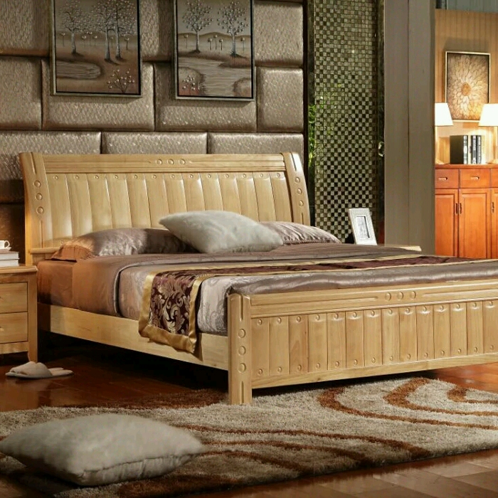 Modern Chinese solid wood bed, oak bed, 1.8 meters, 1.5 meters double bed special bed