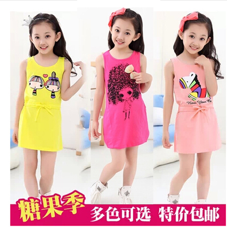 Детская одежда весна/лето 2016 корейские девушки Хлопок Сарафаны на лето, новая девушка платье платья прилив детей