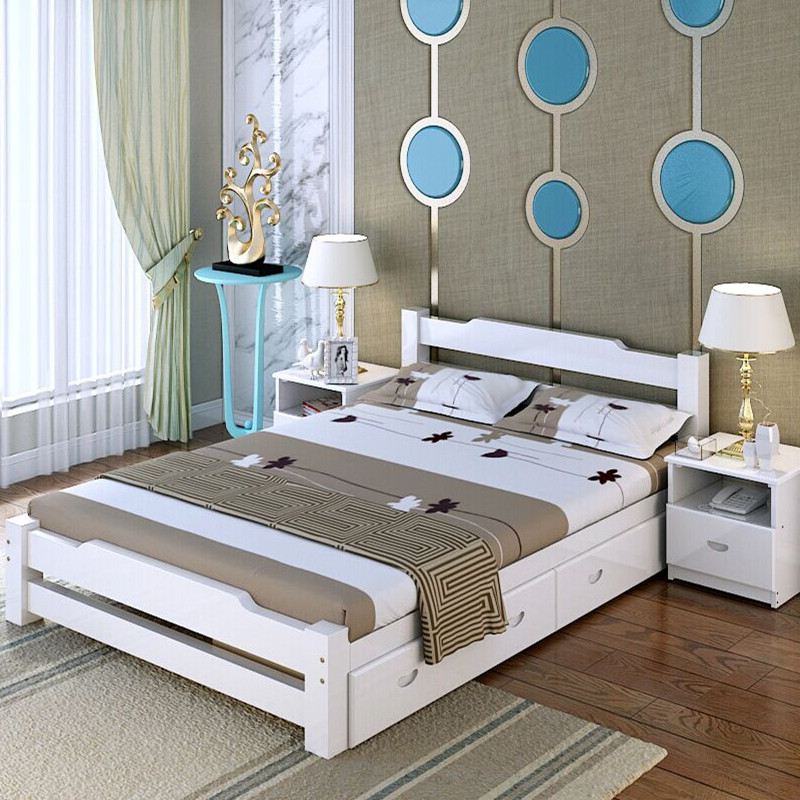 Solid wood bed, 1.2m double bed, 1.351.0 meters, single child bed, modern Chinese storage drawer, white bed