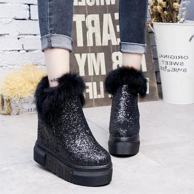 冬季韩版加绒厚底短靴女鞋亮片内增高马丁靴子裸靴平底坡跟女棉鞋