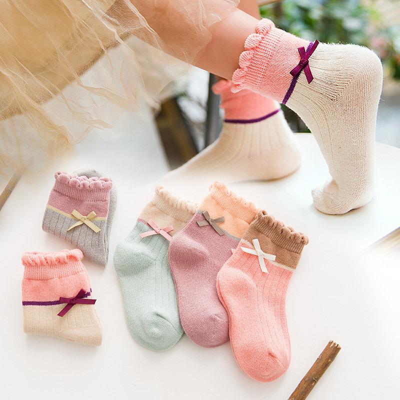儿童袜子女童花边公主袜秋冬中筒男童纯棉小女孩宝宝棉袜1-3-5岁
