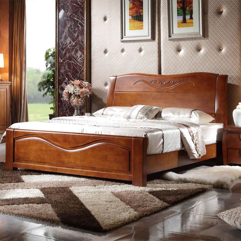 Solid wood double bed 1.8 meters of modern Chinese style wedding bed wood wood bed oak bed furniture special offer free shipping