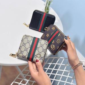 2018新款时尚新款钱包女手拿包卡片包短款拉链钱包女包彩条手包女