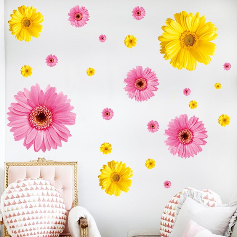 紅色+黃色【組合特惠】中浪漫雛菊客廳沙發電視背景墻貼溫馨臥室床邊貼畫家居裝飾貼紙