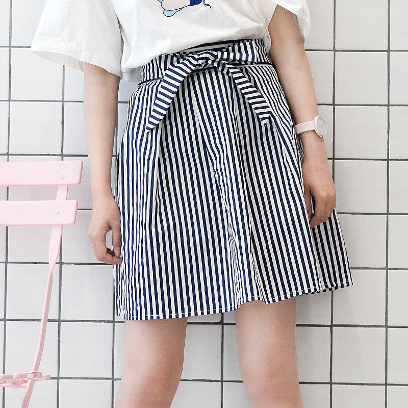 Váy/Váy chữ A nữ họa tiết hình nơ họa tiết kẻ sọc tôn dáng phong cách Hàn Quốc mốt mới mùa xuân phong cách học sinh trẻ trung phong cách ngọt ngào