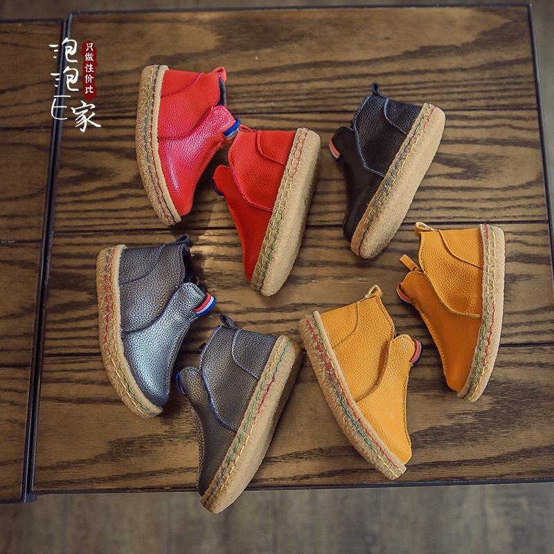 2017秋冬季新款儿童靴子宝宝棉鞋加绒短靴男童鞋马丁靴女童雪地靴