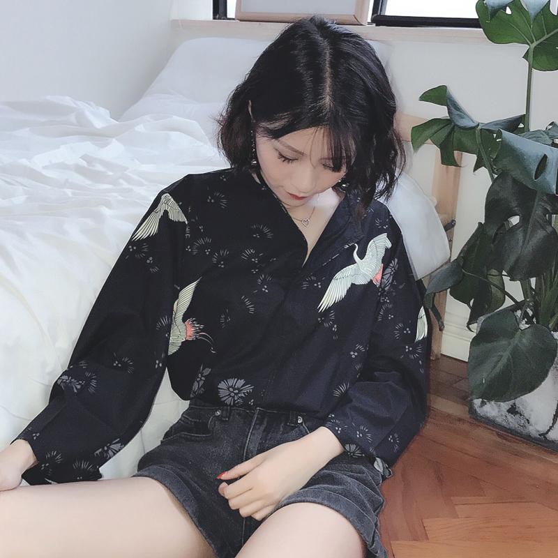 夏裝女裝韓版原宿風個性仙鶴長袖雪紡衫薄款襯衫防曬衣寬松上衣潮