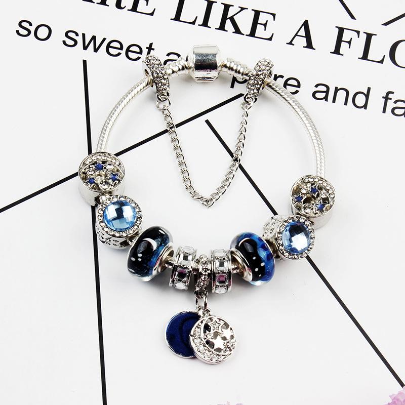 藍色星空16新款歐美風格藍色星空成品diy手鏈星星琉璃珠月亮吊墜送女友
