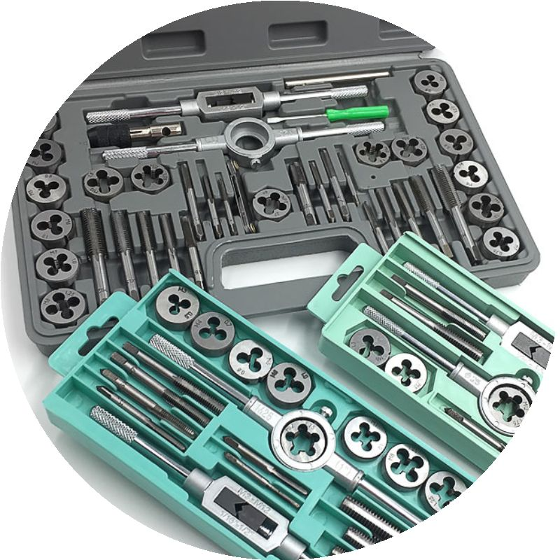 Tap and die set hand tapping wrench holder manual hardware metric circular die set