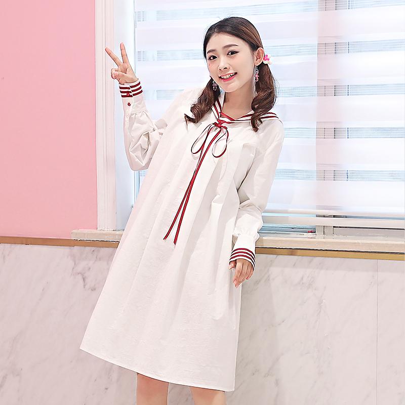 Váy nữ dài tay cổ bẻ tôn dáng phong cách Hàn Quốc kiểu dáng rộng rãi phong cách học sinh mẫu mới nhất phù hợp cho mùa xuân