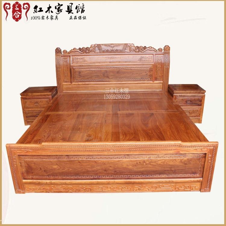 Auspicious wedding bed bed mahogany red sandalwood hedgehog red sandalwood rosewood furniture wood double wings ebony