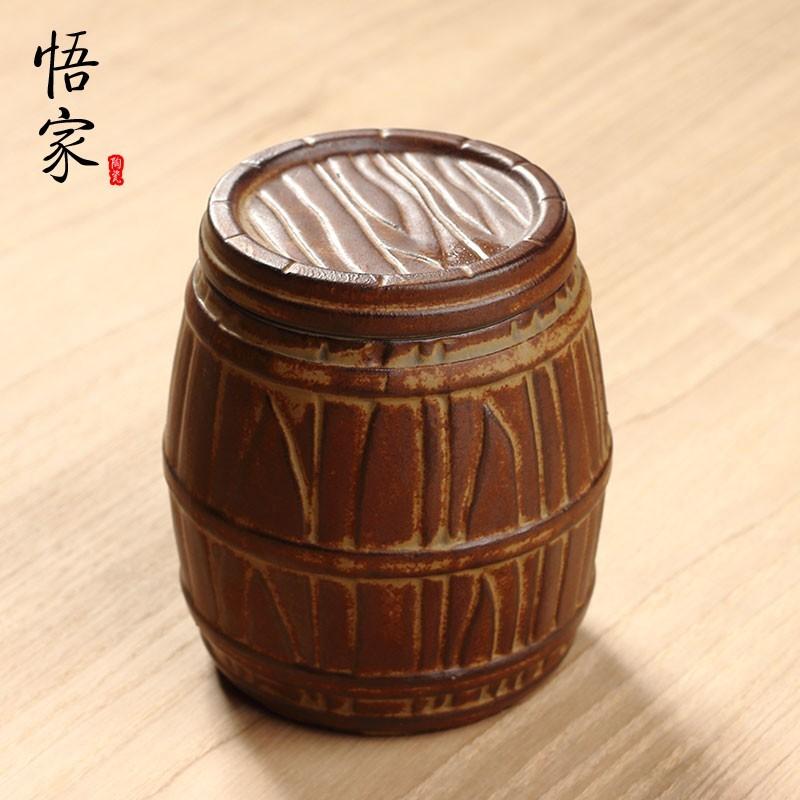 木桶小號茶葉罐悟家粗陶金魚堂大小號茶葉罐儲藥罐藥材罐儲茶存茶醒茶罐普洱罐