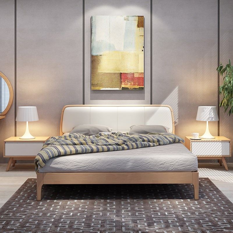 Home fashion Nordic modern solid wood bed, simple oak bed, 1.5m1.8 meters master bedroom, soft double marriage bed