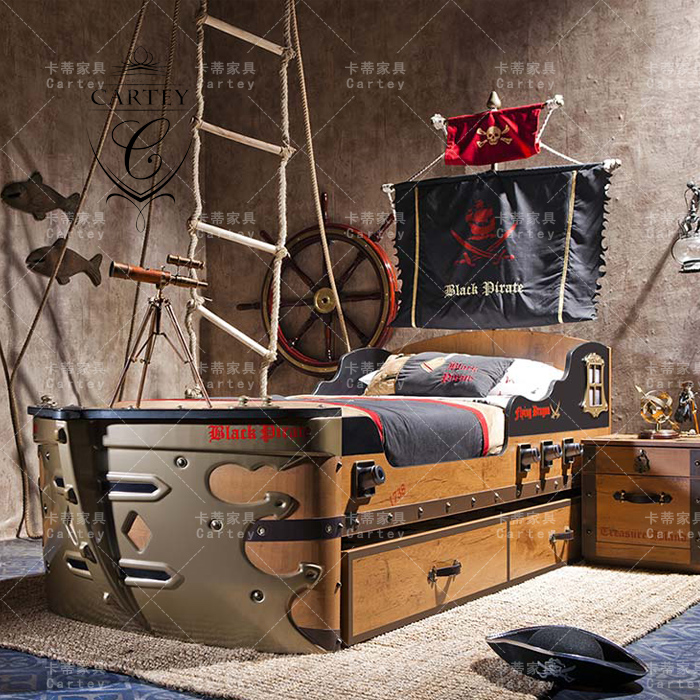 A high-end custom furniture of European American Mediterranean pirate ship creative bed bed wood children bed single bed