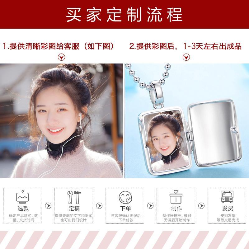 S925 prata pingente colar personalizado fotos de casais Homens e Mulheres para Homens criativo presente de aniversário DIY Letras