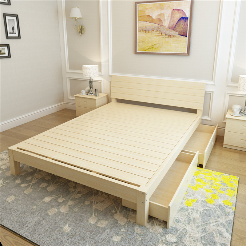 Adult furniture solid wood bed single bed thickened children bed double bed double Home Furnishing household economy 1.5