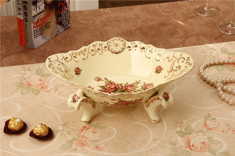 奶黃色歐式陶瓷水果盤干果盤創意時尚糖果盤果籃果簍客廳裝飾品擺件