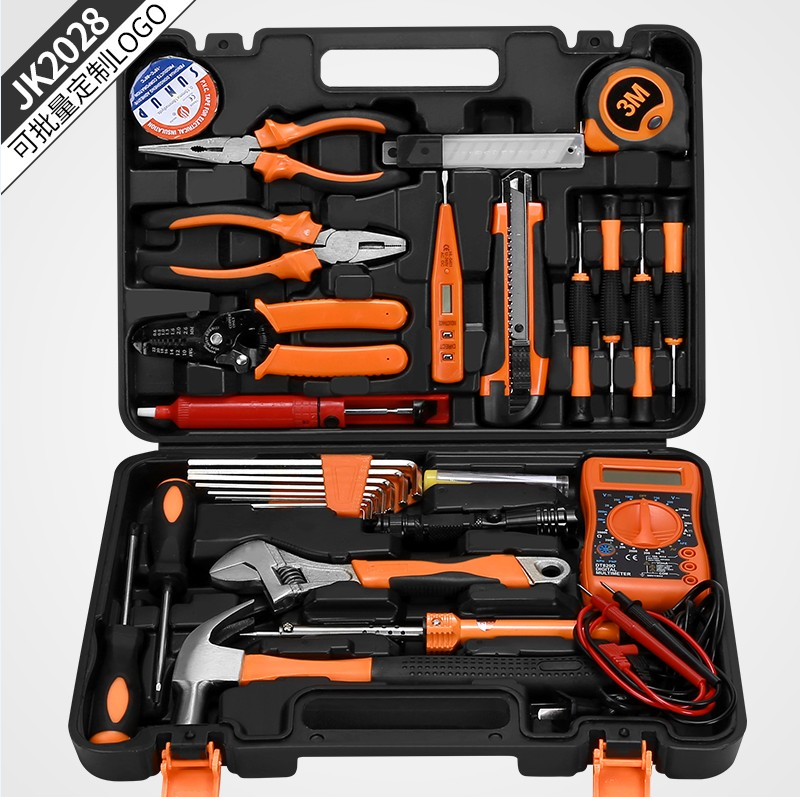 German household multifunctional hardware electric tool assembly, hydraulic engineering special decoration flashlight drilling toolbox