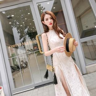 唐家欧美2017夏装新款女高开叉性感一步裙露背蕾丝