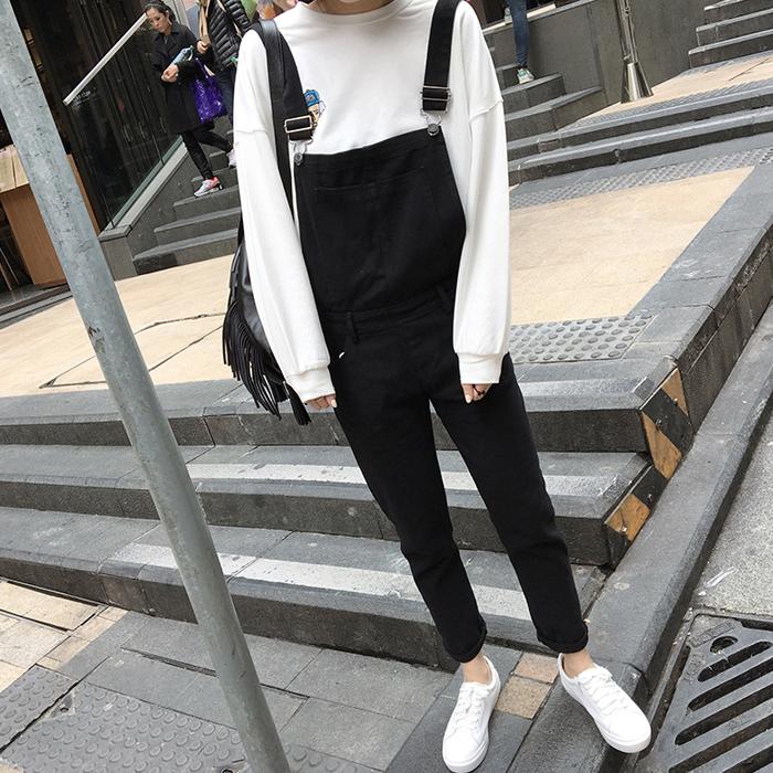 春季韩国大口袋学生宽松连体背带裤显瘦复古九分哈伦牛仔裤女长裤