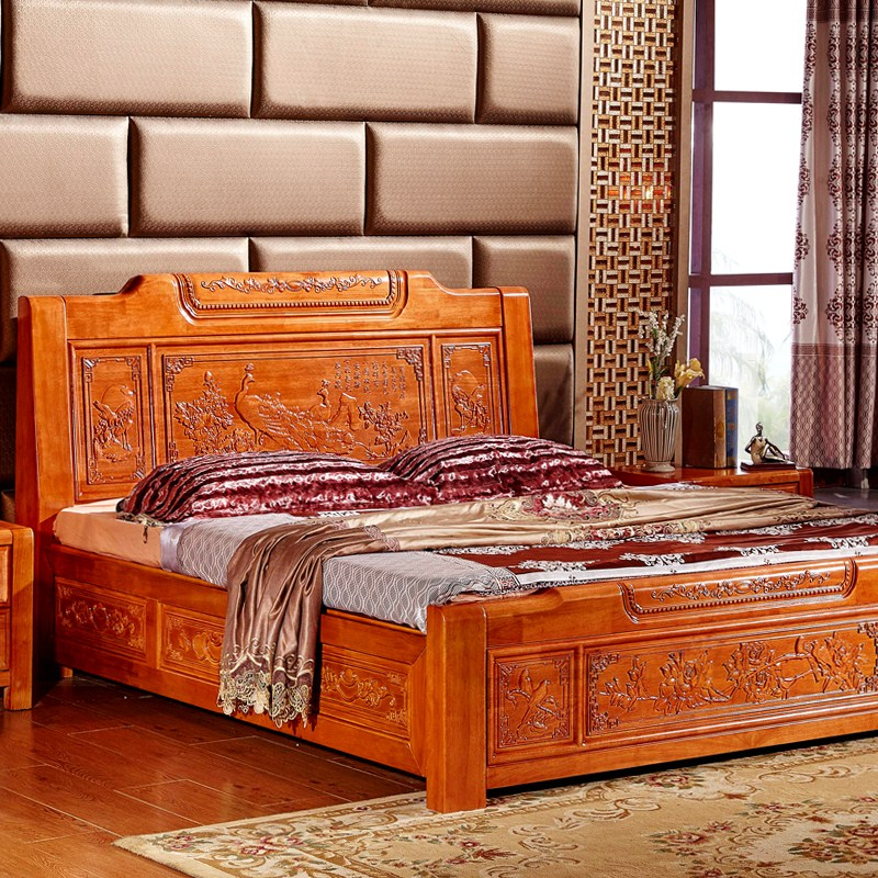 Modern new Chinese style solid wood bed, Ming and Qing classical carved bed, 1.8M oak double marriage bed, high box bed antique furniture