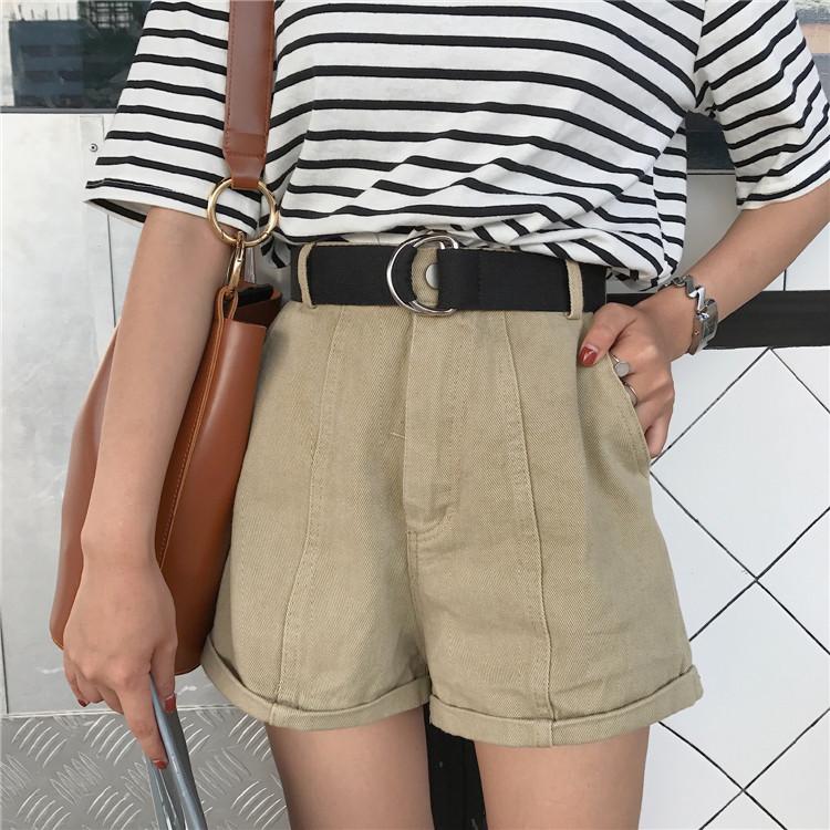 小九家 复古休闲高腰咖色系中裤显瘦卷边直通牛仔短裤女 配腰带