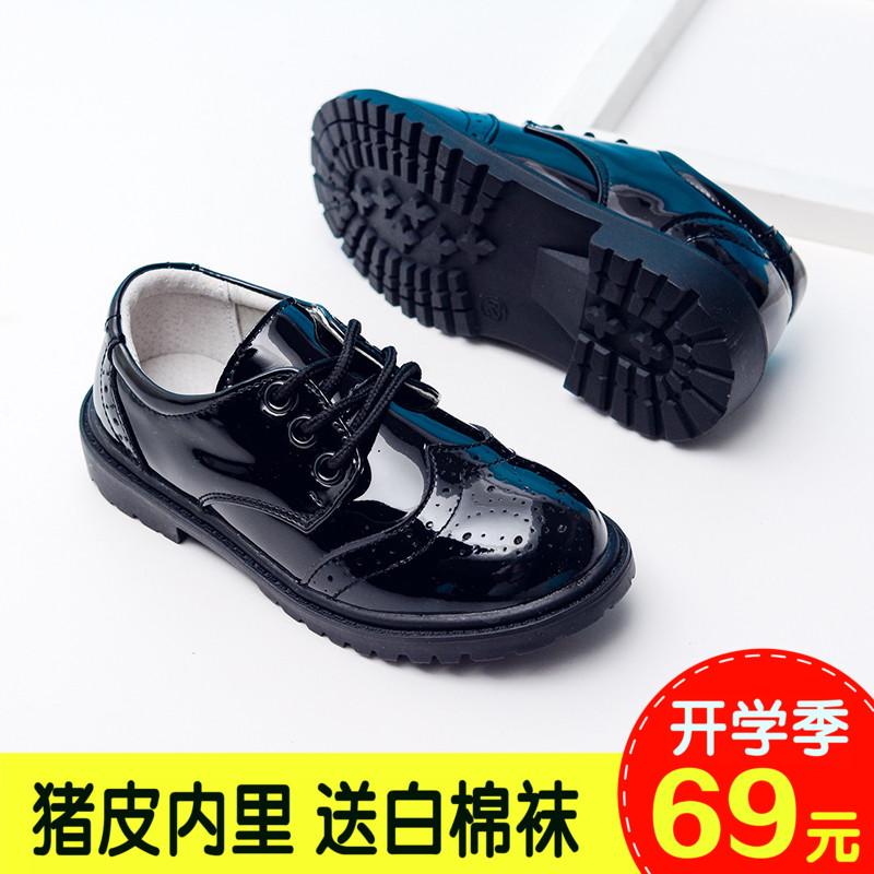 春秋新款男童黑色皮鞋