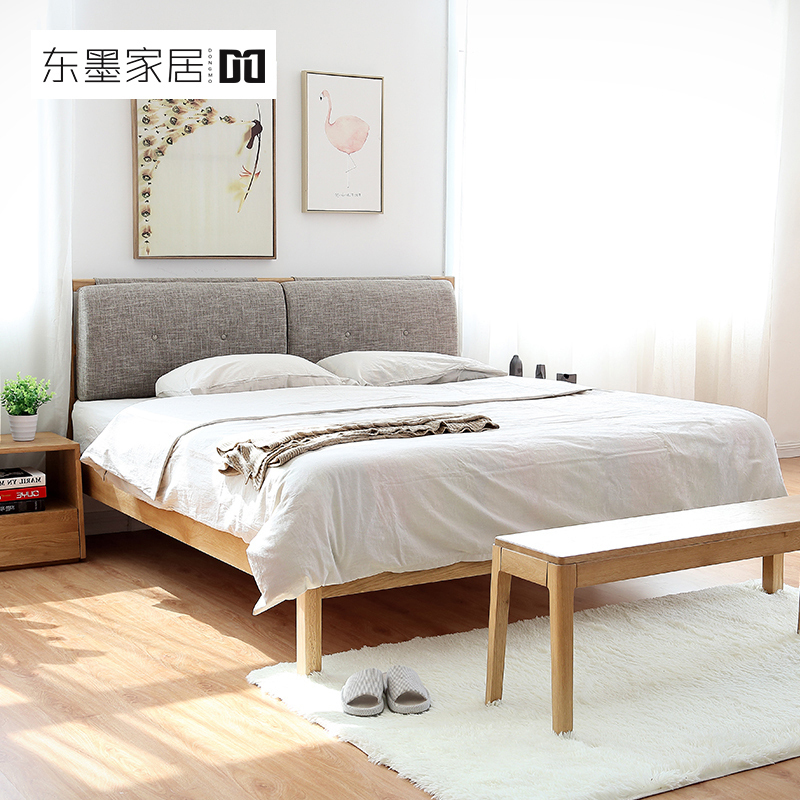 East soft bed Home Furnishing ink all solid oak bed 1.8 meters double modern minimalist pure white oak wood bed