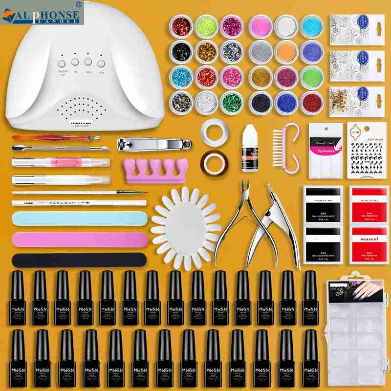 Nail tool kit, nail polish glue, phototherapy machine with lamp, beginner students set up a full set of nail shop