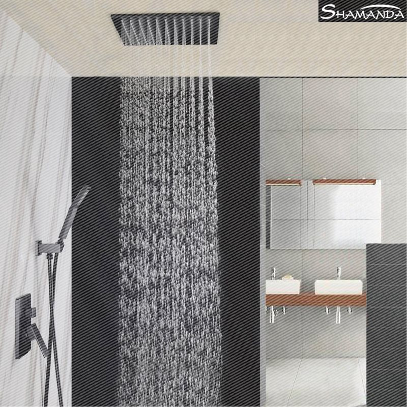 The hot and cold copper ceiling embedded box Hotel black concealed shower wall type shower sets embedded ceiling mixing valve