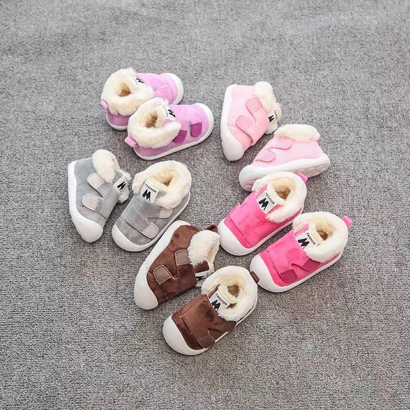 冬季女宝宝软底学步鞋6-12个月加绒加厚软底防滑男童棉鞋1-2岁