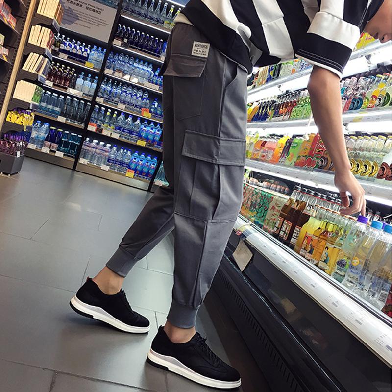 17韓版鼕季男士工裝褲束腳休閑褲男寬松哈倫褲長褲收口小腳褲子潮
