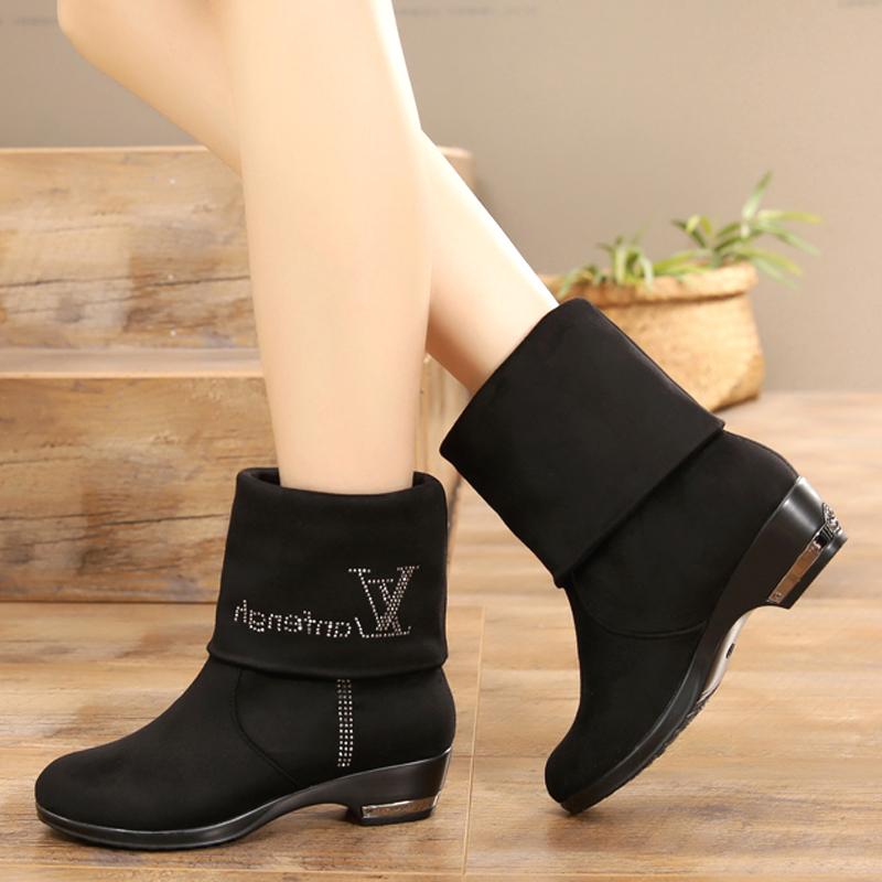 秋冬新款老北京布鞋女靴子短靴中筒靴两穿长筒靴大码女鞋42女棉靴