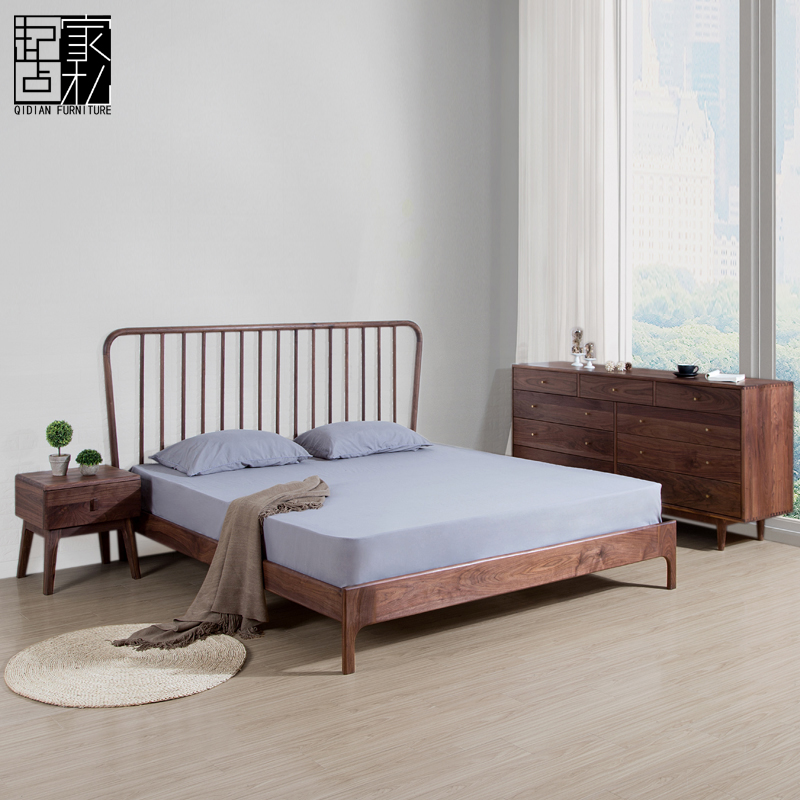 Nordic Japanese solid wood bed, North American oak, black walnut, double bed, simple modern personality, bedroom, bed bed, bed bed
