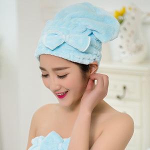 珊瑚绒时尚蝴蝶结公主帽 真正吸水 柔软干发帽
