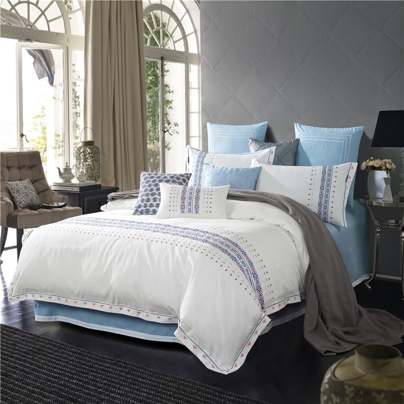 The spring and summer of four sets of pure Tencel / linen embroidery embroidery cotton bedding minimalist style Six Piece Set NEW
