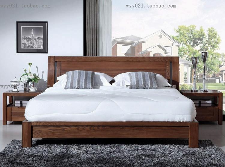 Muebles de dormitorio cama doble de madera de olmo totalmente real de 1,5 metros de 1,8 m moderno minimalista de color madera de color nogal negro
