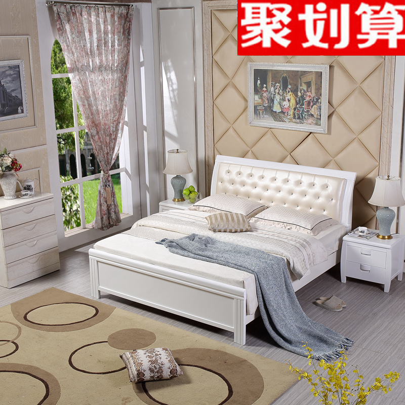 White European style solid wood bed 1.8 meters 1.5m double oak skin by modern minimalist soft storage high box bed