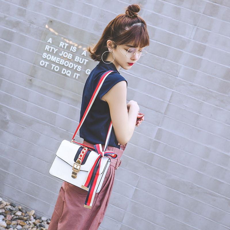 明星同款包包2017新款单肩包女宽肩带包欧美时尚小方包夏季斜挎包