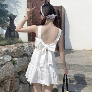 夏季女装日系软妹少女甜美后背绑蝴蝶结露背无袖小洋装连衣裙摆裙