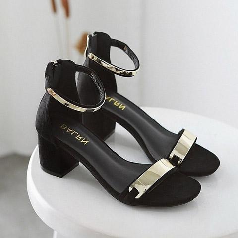 涼鞋女夏季中跟高跟鞋2017新款韓版百搭一字扣帶粗跟亮片羅馬女鞋