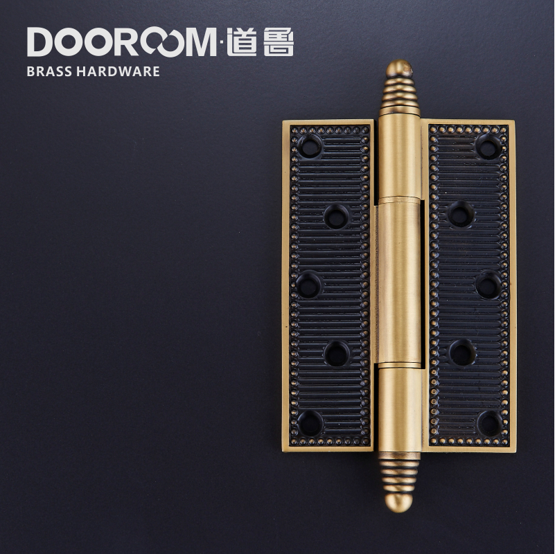 5 inch full copper thickened wooden door, hinge silent American Pastoral series, modern stripe open hinge loose leaf single chip