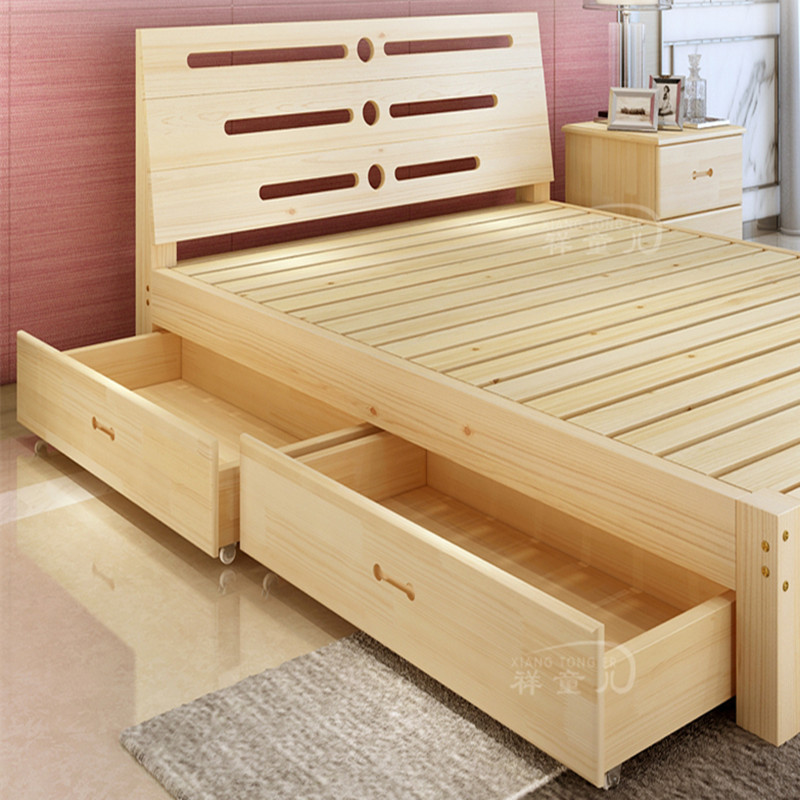 Modern minimalist style bed solid wood bed 1.8 meters 1.5 tatami bed Zhuwo soft on the bed